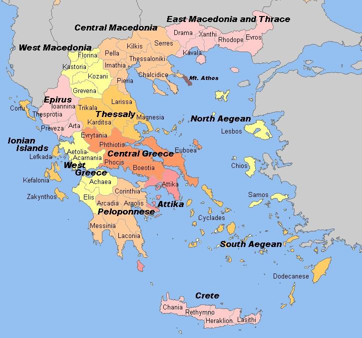 Griechenland Karte Deutsche Namen